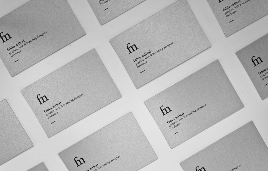 Front businesscards white black fabio milesi designer mockup