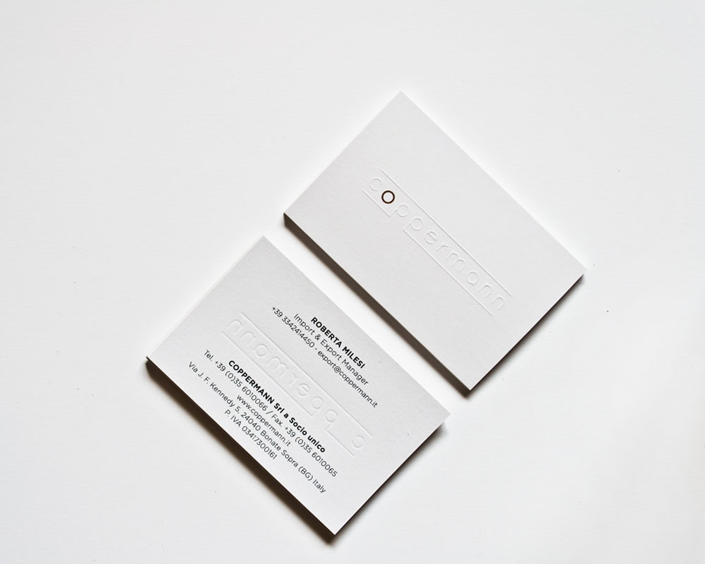 double face businesscards copper tapes rebranding logo