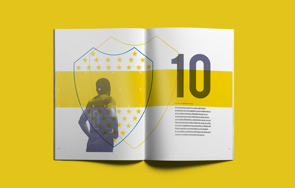 Decal portfolio riquelme argentina ultimo 10 juan roman boca juniors design pages editorial yellow blu grafico