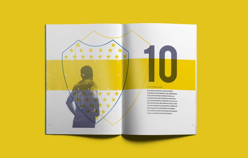 Decal portfolio riquelme argentina ultimo 10 juan roman boca juniors design pages editorial yellow blu grafico