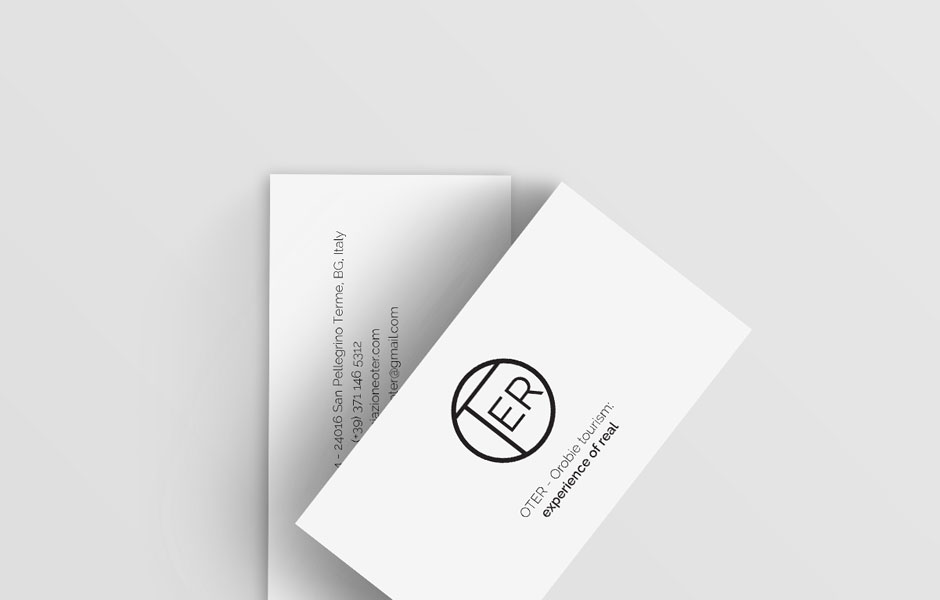 oter orobie tourism bergamo milan italy business cards logo typographic simplicity minimalism photo pics nature natura sanpellegrino branding mark cards bw