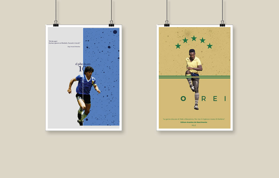 Poster Maradona Pele bar sport bergamo roncobello football calcio pallone storia argentina brasile